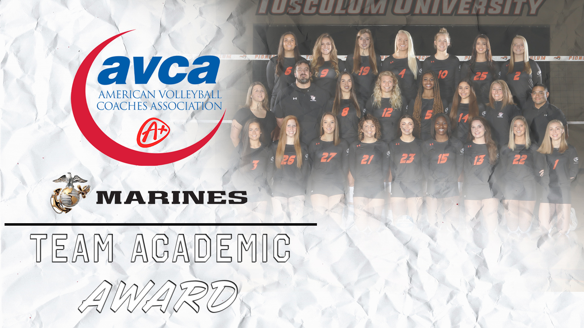 Tusculum Women's Volleyball Collects USMC/AVCA Team Academic Award