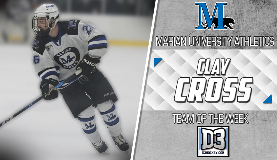 Clay Cross D3Hockey.com Team of the Week graphic.