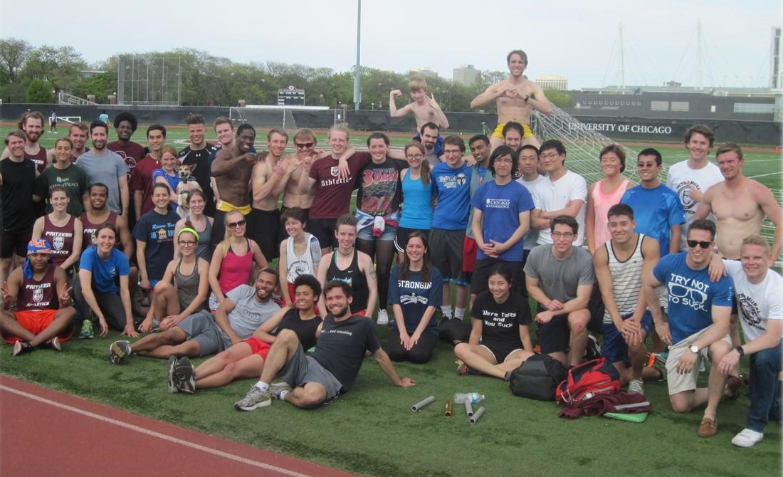 IM Track Meet participants relax after a fun-filled day at Stagg Field