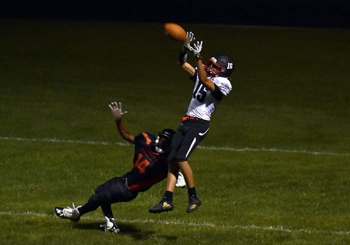 Colt wide out Joshua Lopez with one of his two TD receptions vs. the Tigers.