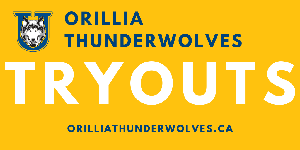 blue and white wolf logo with a yellow background and words that say Orillia Thunderwolves Tryours