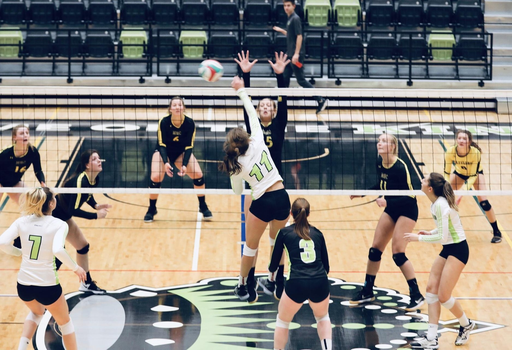Outside hitter Emma Holmes (11) was one of the leaders for the Queens. Picture - Colby Brochu Photograhy