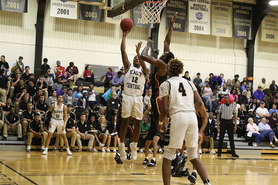 East Central sophomore forward Brandon Williams (Leake County) goes high for a basket in first half action in the Warriors' win over Jones College. (EC Photo)