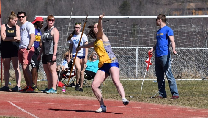 Holly Fiore on her way to winning the Javelin Toss.