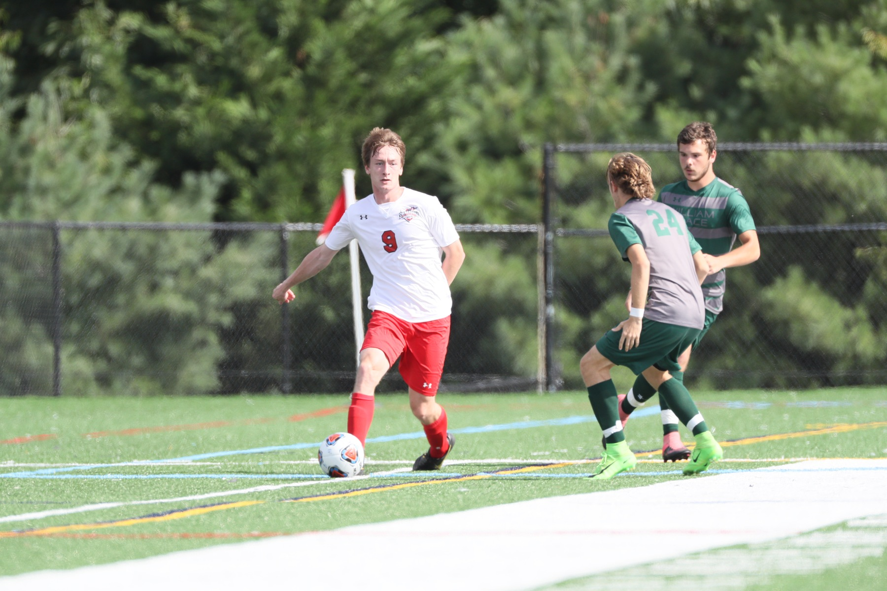 Senior Nick Seymour scored in the 88th minute in the 5-0 win over the SVU Knights.