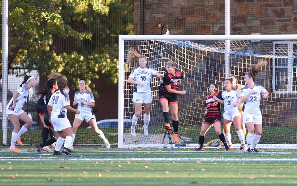 The Greyhounds defend a corner kick in a Landmark Conference match versus The Catholic University of America on John Makuvek Field during the 2018 season.