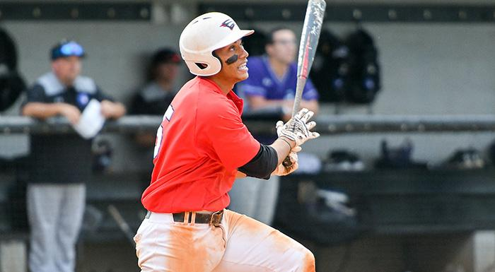 Trent Sinkfield homered for the second consecutive game against the Manatees. He also collected four RBI in a 10-5 win. (Photo by Tom Hagerty, Polk State.)