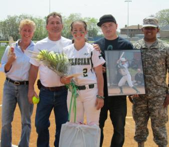 Grace Keller and family on 2012 Softball Senior Day.