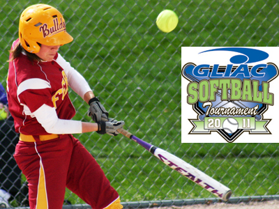 Stephanie Dusendang and the Bulldogs come up short in 5-4 GLIAC Tourney setback to  Ashland.  (Photo by Sandy Gholston)