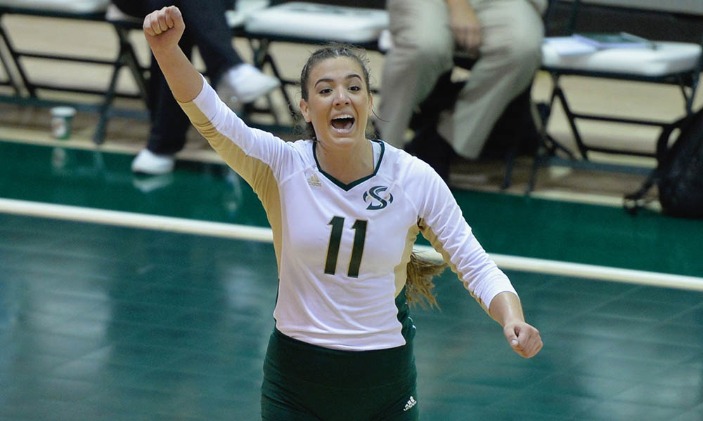 VOLLEYBALL MOVES TO 11-6 IN LEAGUE AFTER ROAD WIN AT PORTLAND STATE