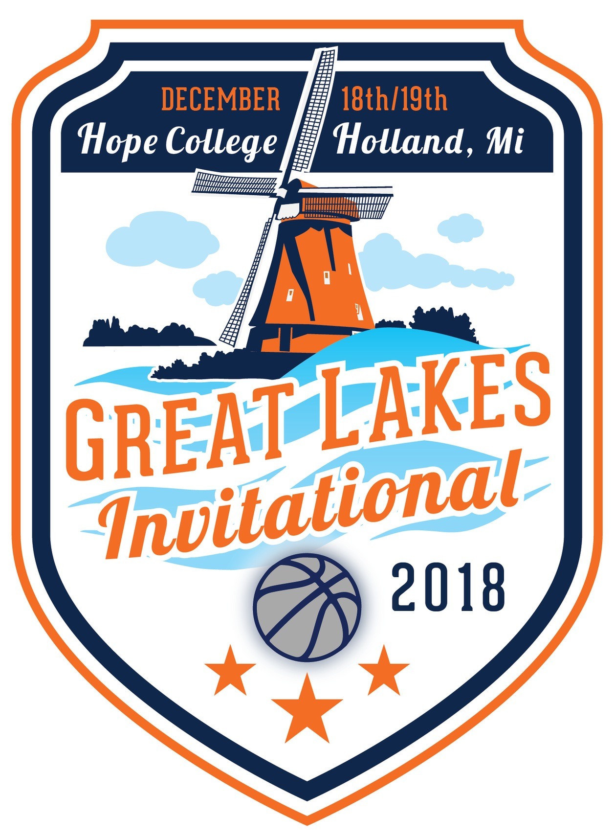 Great Lakes Invitational logo with windmill and a basketball