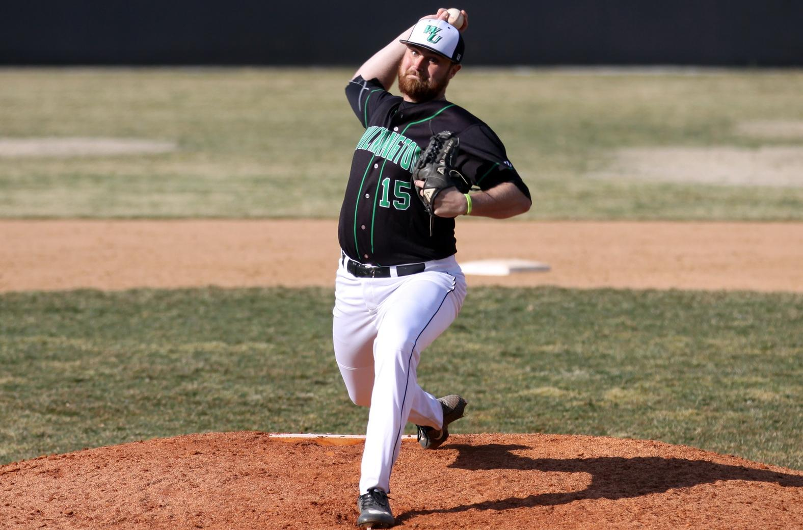 Copyright 2019; Wilmington University. All rights reserved. File photo of Sean Deely who struck out 11 in game one against USciences on Friday. Photo by Dan Lauletta. March 16, 2019 vs. Bridgeport.