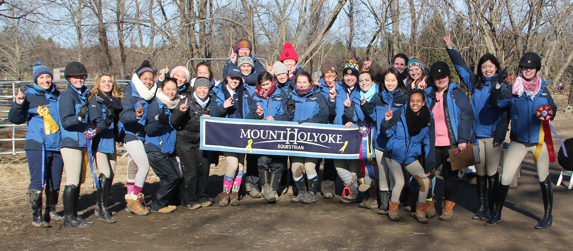Group photo of the Lyons riding team following their victory at the Hampshire College Show on March 23, 2019.
