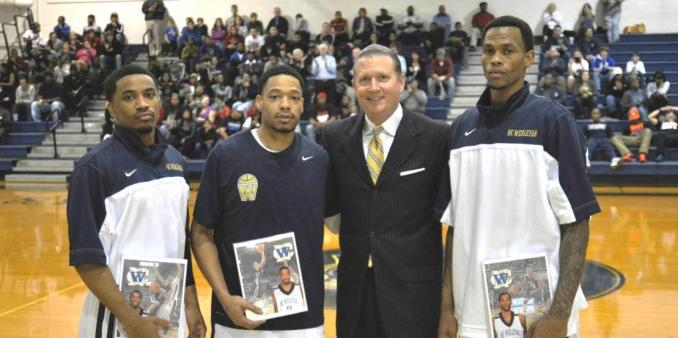Julian Martin, Cornelius Snow, Coach John Thompson, and Brandon Givens