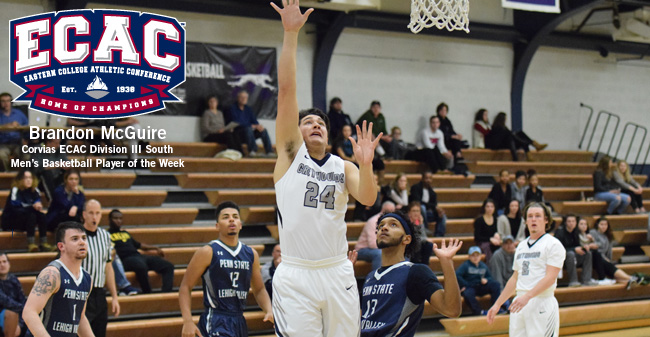 McGuire Selected as Corvias ECAC DIII South Men's Basketball Player of the Week