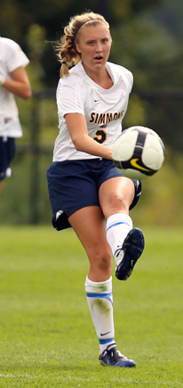 Simmons College (5-7-1, 4-4 GNAC) scored two first-half goals to nip Saint Joseph?s Maine (6-4, 4-4 GNAC) in a Great Northeast Athletic Conference women?s soccer contest Saturday afternoon at Westerlea Way Field.