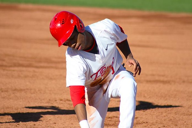Jared Crockett had two hits and four steals on the day to help Mesa beat Grand Canyon Club team, 7-4. (photo by Aaron Webster)
