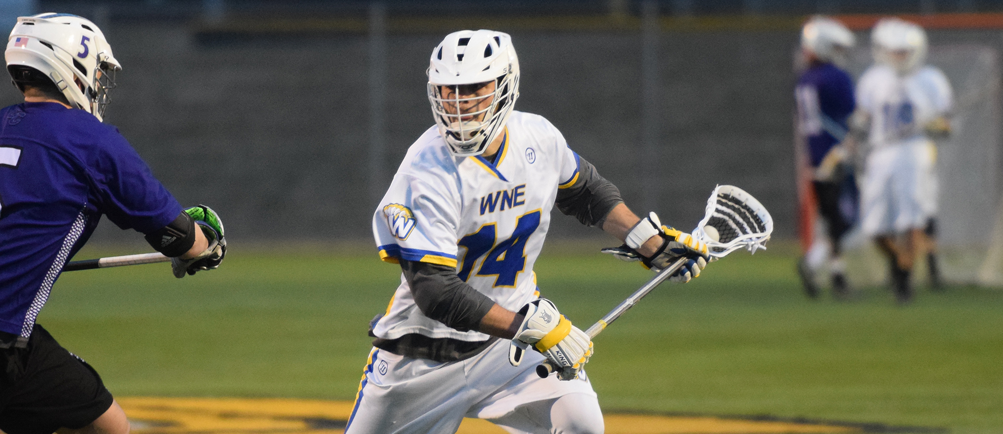 Sophomore Nick Gamba's goal late in the fourth quarter was the difference in Western New England's 11-9 victory over Wentworth on Wednesday night. (Photo by Rachael Margossian)