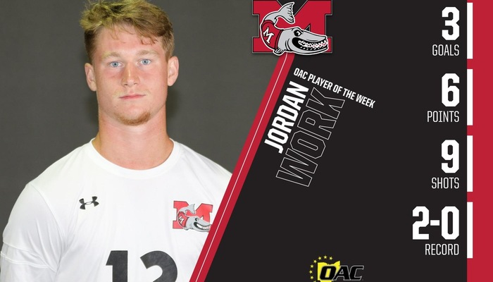 Work earns OAC Men's Soccer Player of the Week