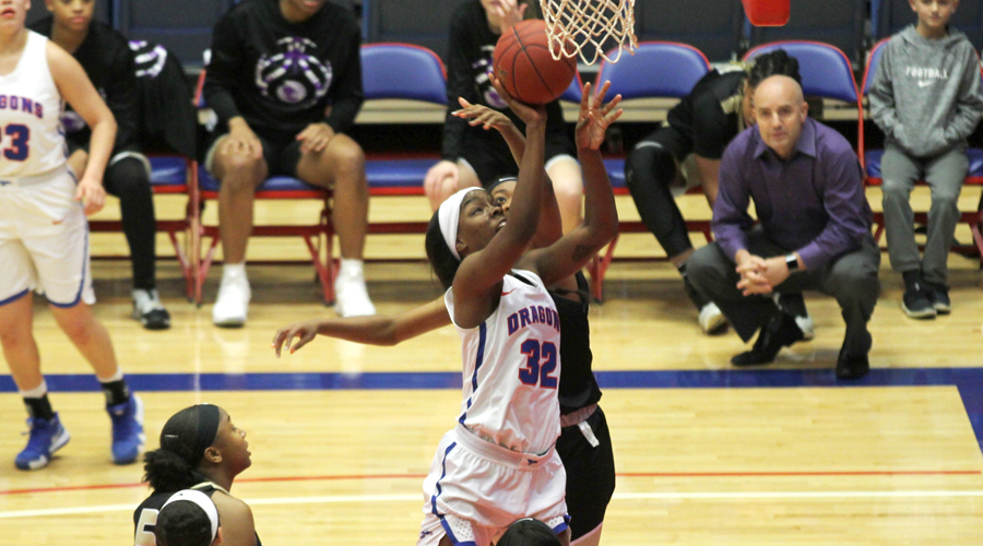 Jada Mickens racks up 16 points and eight rebounds to lead the No. 8 Blue Dragon women to a 78-61 win over No. 6 Butler on Saturday at the Sports Arena. (Bre Rogers/Blue Dragon Sports Information)