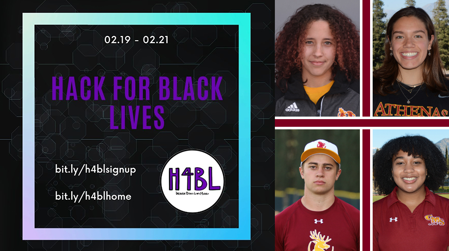 Head shots of (clockwise from top left) Natasha Crepeau, Kira Favakeh, Camille Simon and Ben Hinthorne with a Hack for Black Lives logo