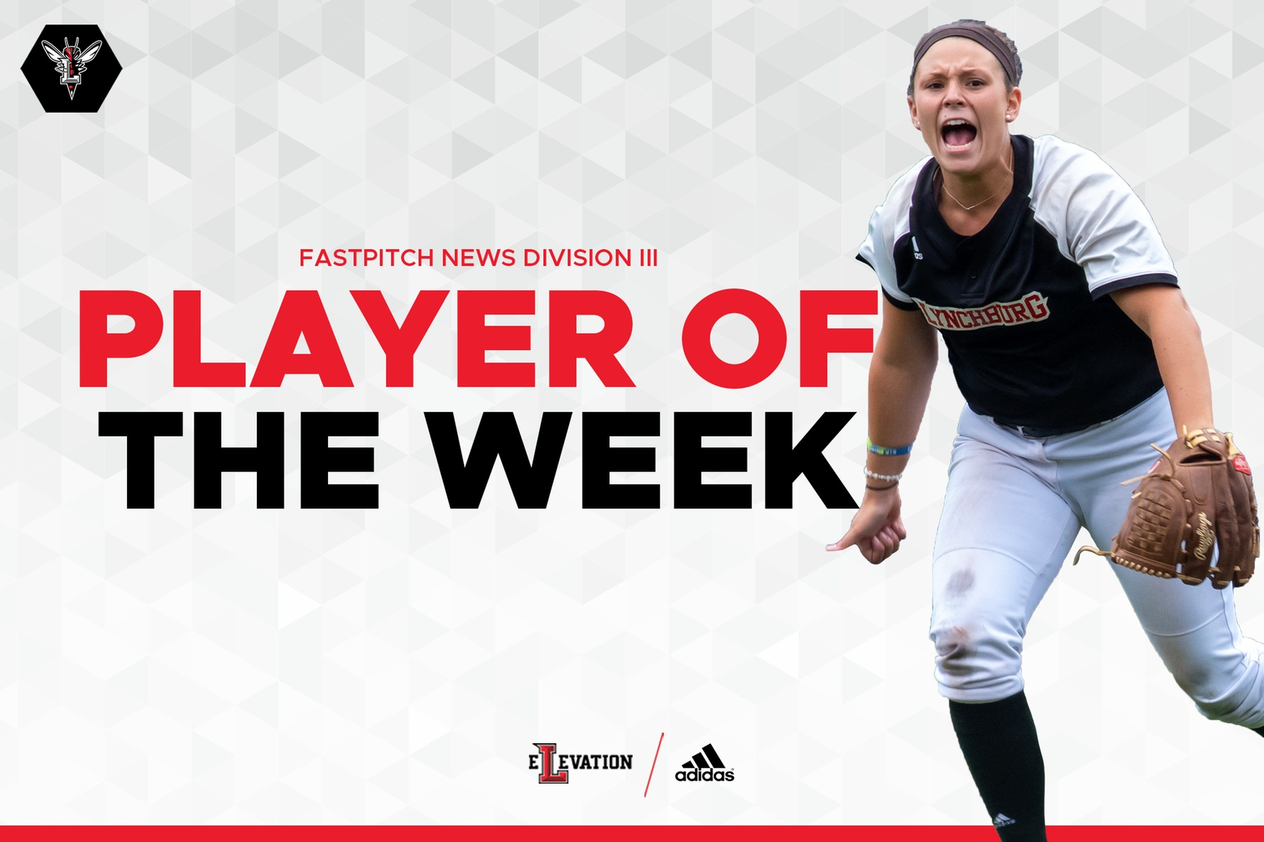 Kortney Leazer national player of the week graphic with her in black jersey