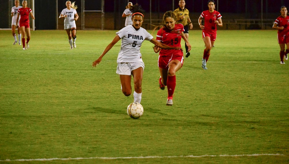 Sophomore Alexis Hernandez (Ironwood Ridge HS) scored Pima's first two goals late in the first half but the Aztecs surrendered three goals in the final nine minutes in their 4-3 loss at Phoenix College. Photo by Ben Carbajal/2016