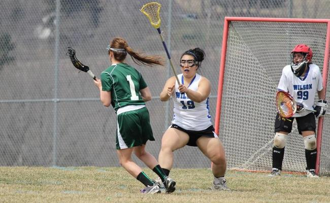 Senior Maggie Bonafede scored eight points as the Keuka College women's lacrosse team remained perfect in NEAC play with a 20-1 win over the College of St. Elizabeth Friday (photo courtesy of Carly Volante, Keuka College Sports Information Department).