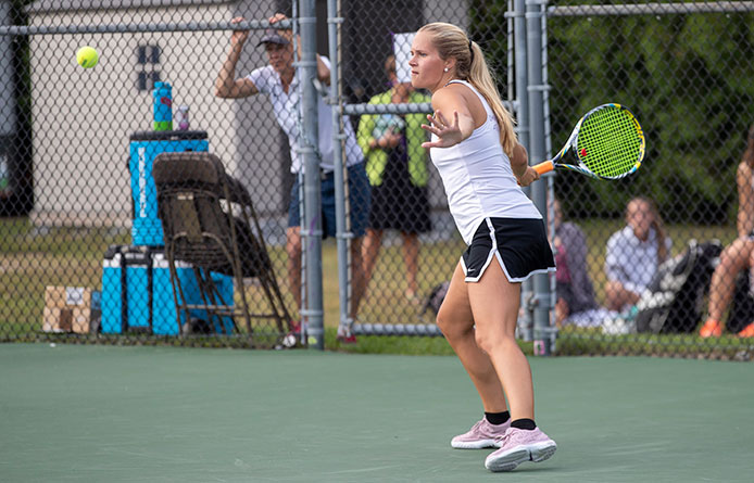 Women's Tennis Slips to Regionally-Ranked Adelphi in Twitchell's First Match as Coach