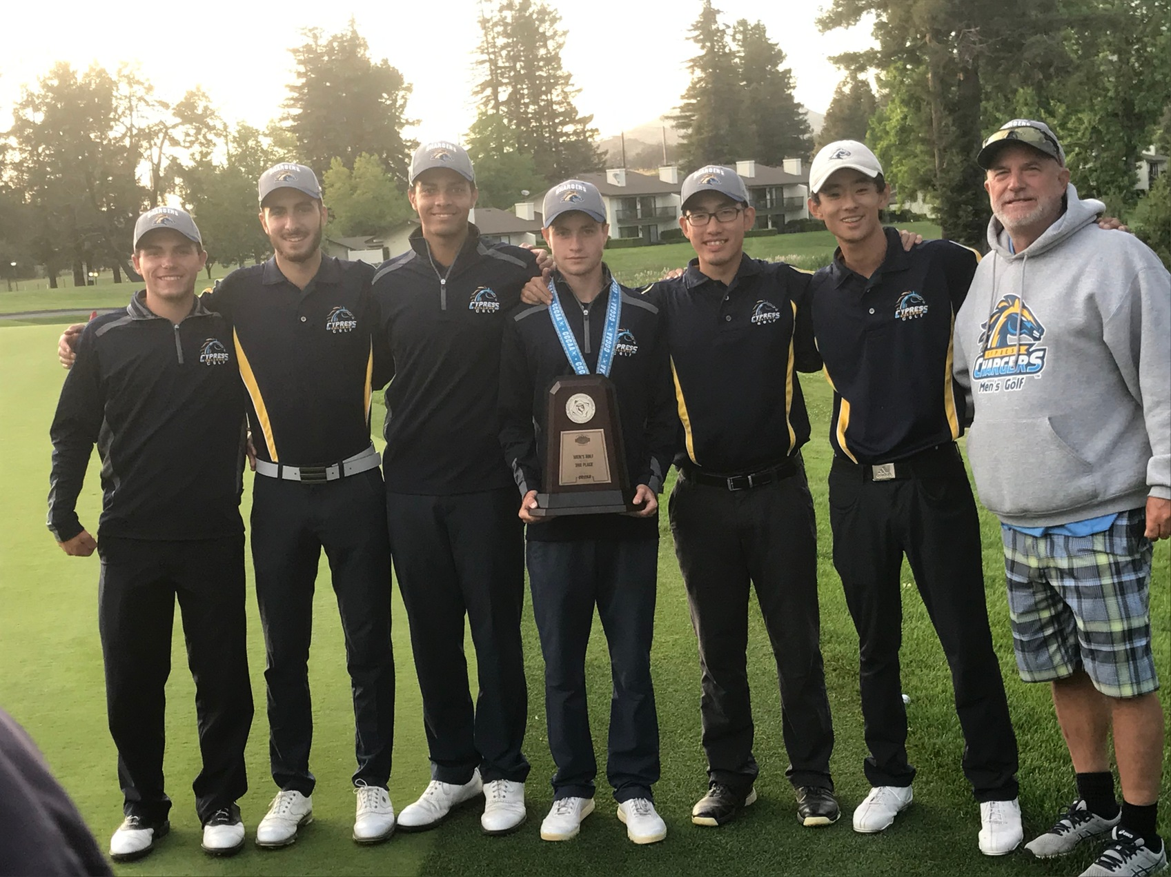 Cypress College Men's Golf Team with CCCAA State Championship 3rd Place Trophy.