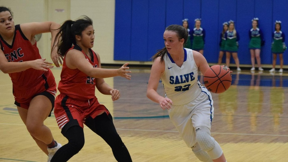 Kerri Beland drives in the first half against Eastern Nazarene. (Photo by Ed Habershaw)