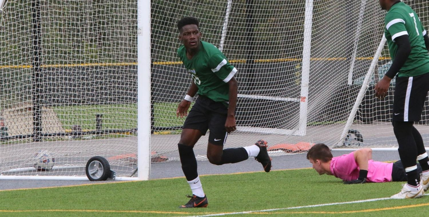 Samba Doukhansy (15) scored 1:44 into the second overtime period to lift Keuka College 2-1 over Lancaster Bible College