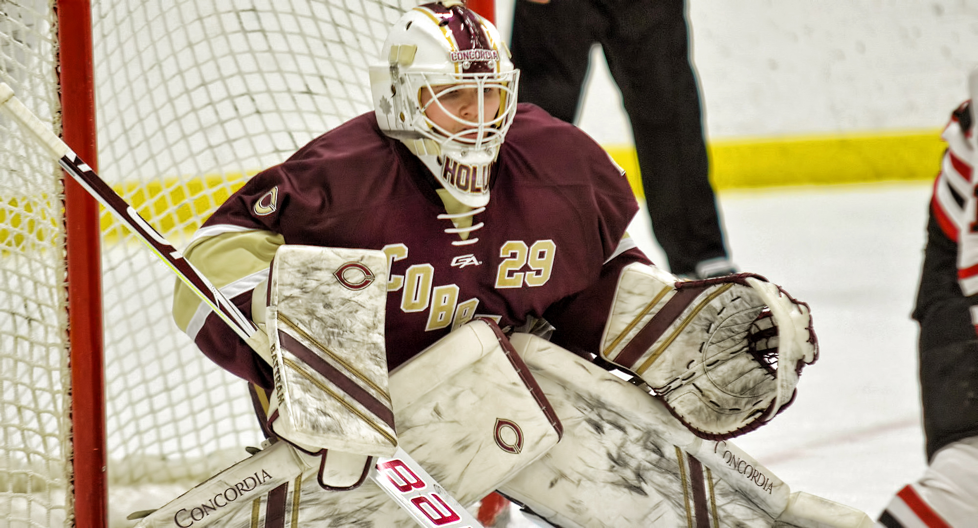 Goalie Gabe Holum gets ready to make a stop during the Cobbers' 3-2 win at Wis.-River Falls. Holum made 19 saves to earn his first college win. (Pic courtesy of BJ Pickard)