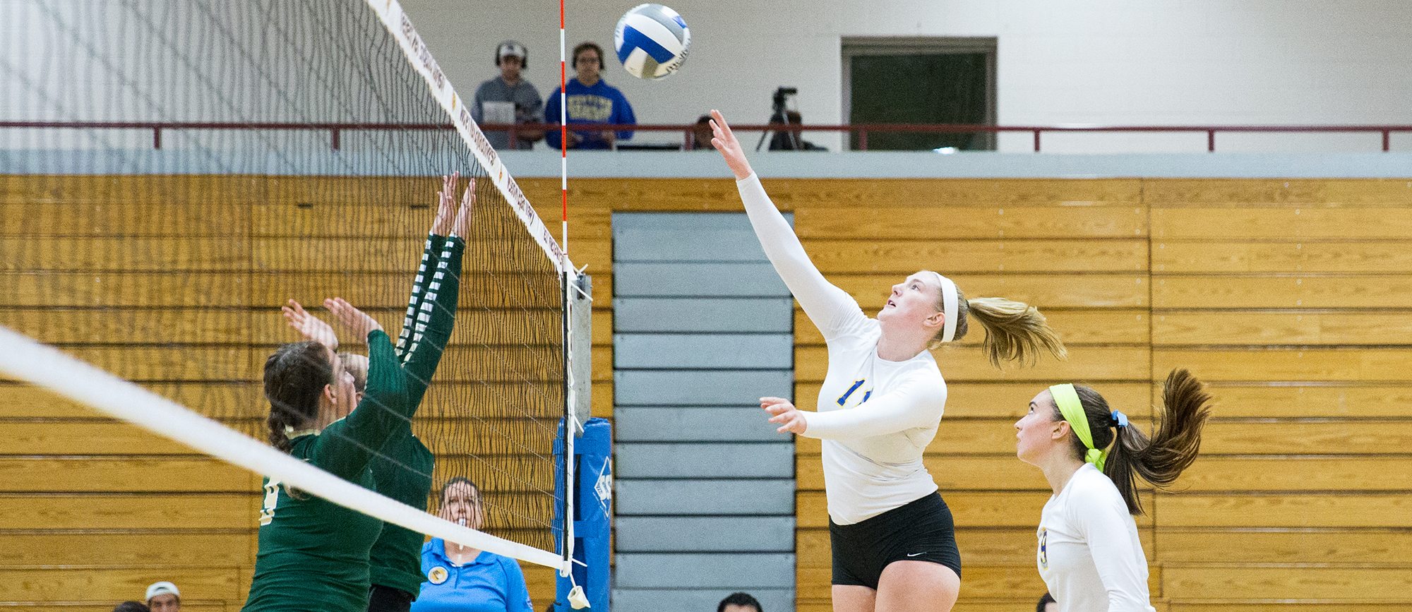 Junior Cassie Holmes recorded a career-high 14 kills in Western New England's 3-1 win at Mount Holyoke on Friday night. (Photo by Chris Marion)