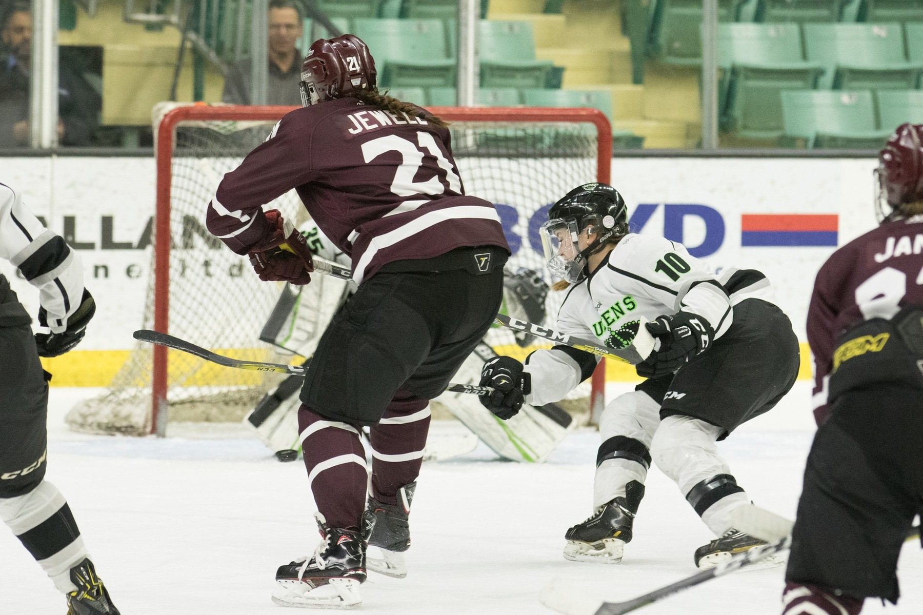 RDC's Kirsten Baumgardt (10) defends against MacEwan's Carley Jewell (21). Both student-athletes played well in Edmonton. Photo - Tony Hansen