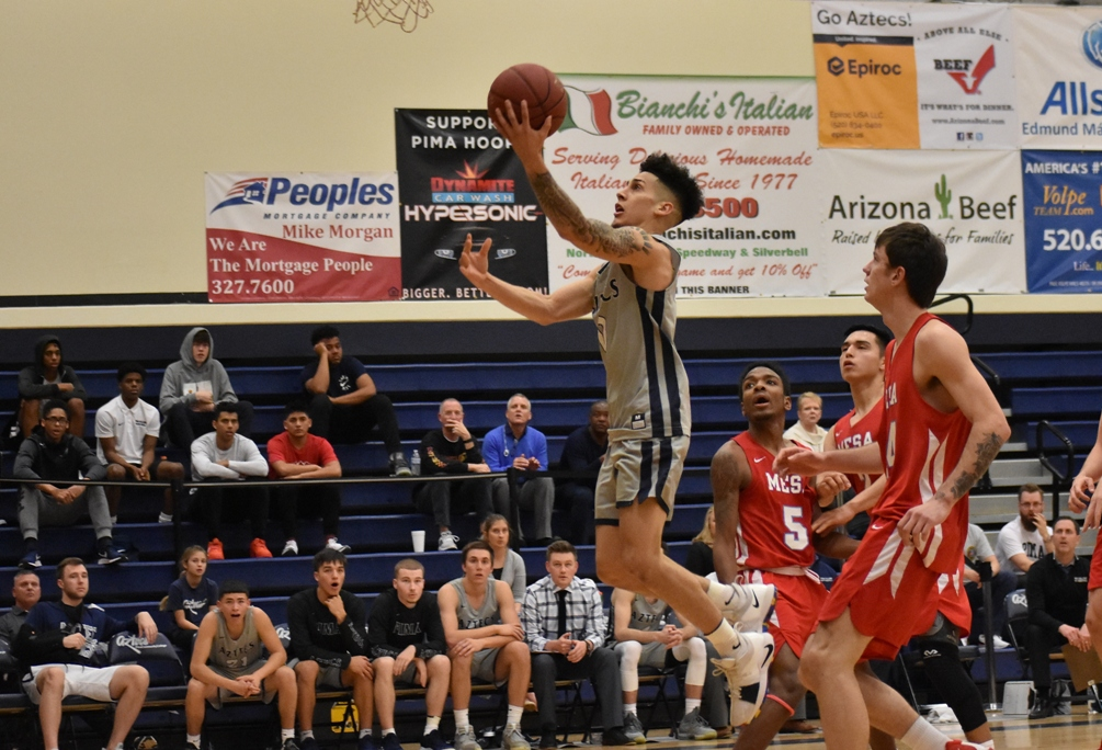 Sophomore Abram Carrasco (Cholla HS) scored reached the 1,000 career point total on Saturday in Pima's 118-99 win at Eastern Arizona College. He scored 30 points on 13 for 21 shooting with seven rebounds and seven assists. The Aztecs are 16-5 overall and 9-4 in ACCAC conference play. Photo by Ben Carbajal