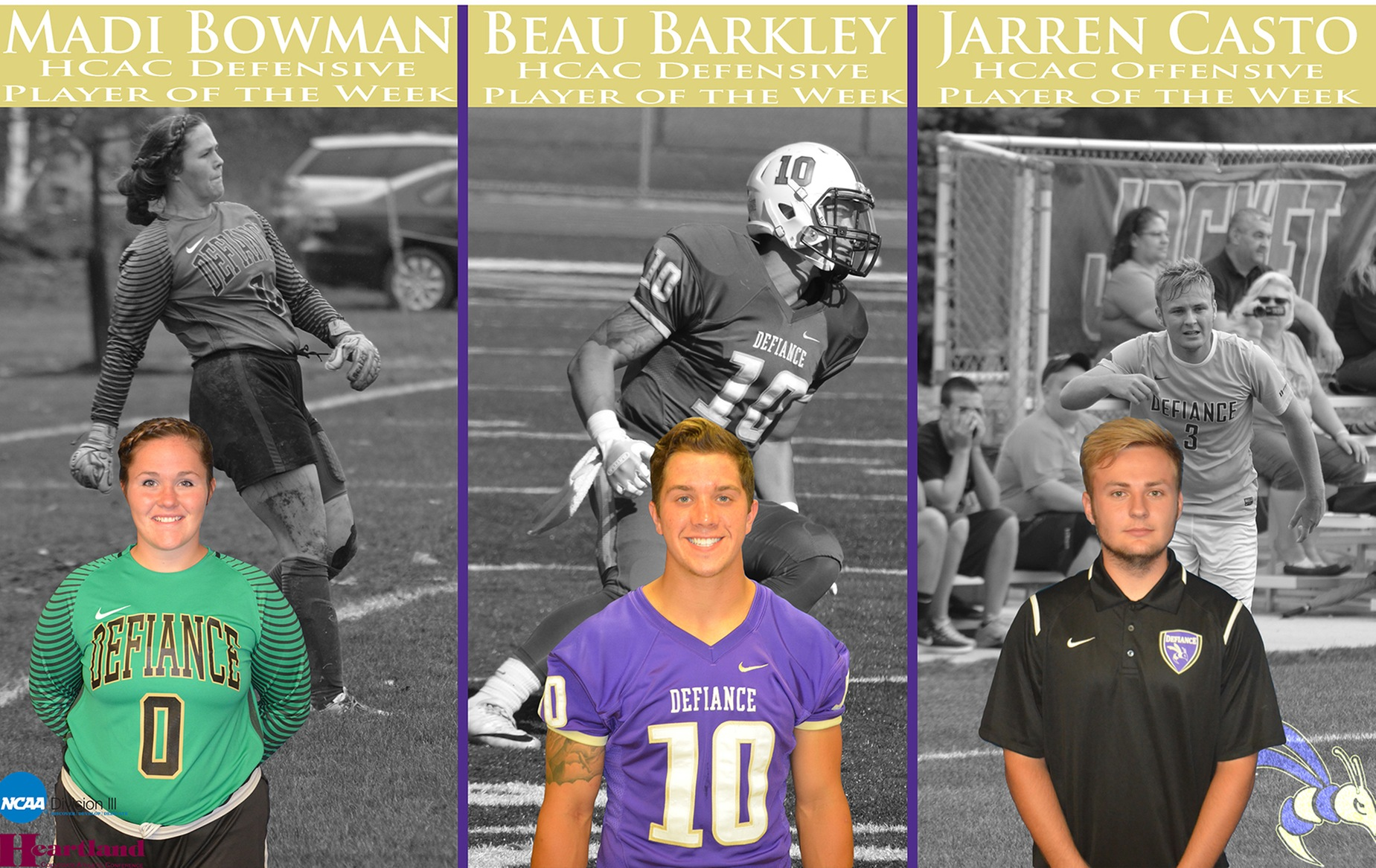 Three Yellow Jackets Earn HCAC Player of the Week Honors