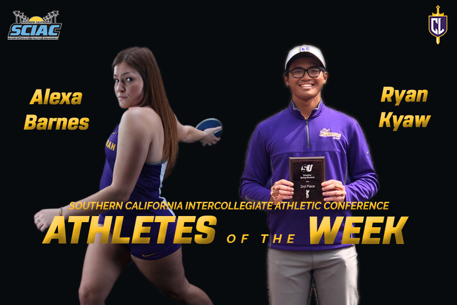 Barnes, Kyaw Earn SCIAC Athlete of the Week Honors