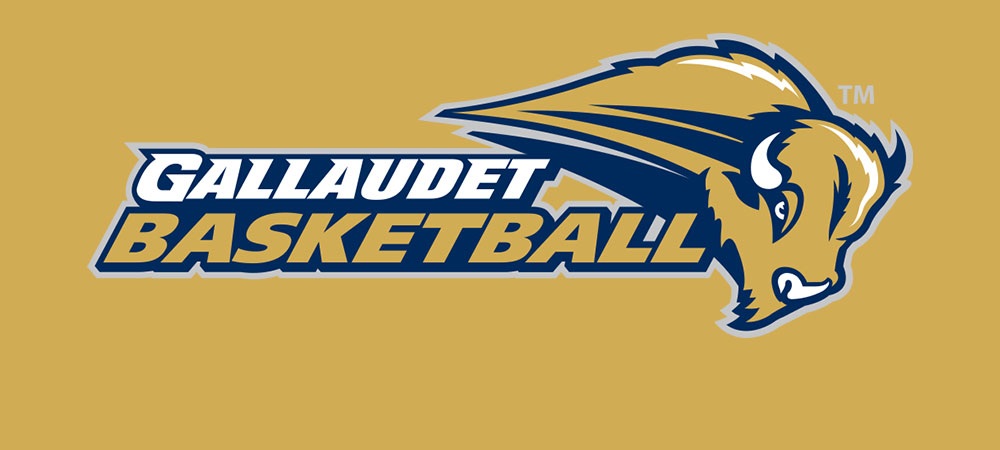 Gallaudet basketball logo on gold color background