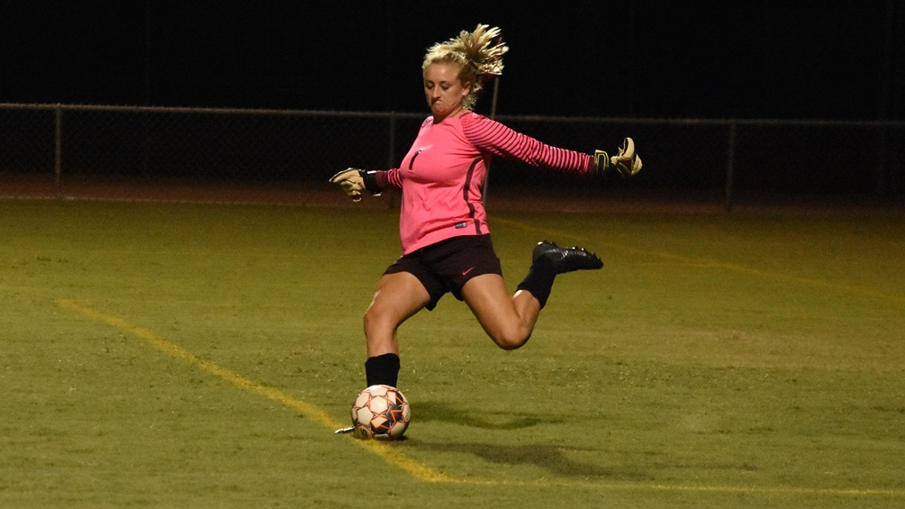 Freshman goalkeeper Haven Chambers (Walden Grove HS) finished with five saves but the Aztecs women's soccer team fell at Scottsdale Community College 1-0 in the NJCAA Region I, Division I quarterfinals. The Aztecs close the season at 10-8-3. Photo by Ben Carbajal