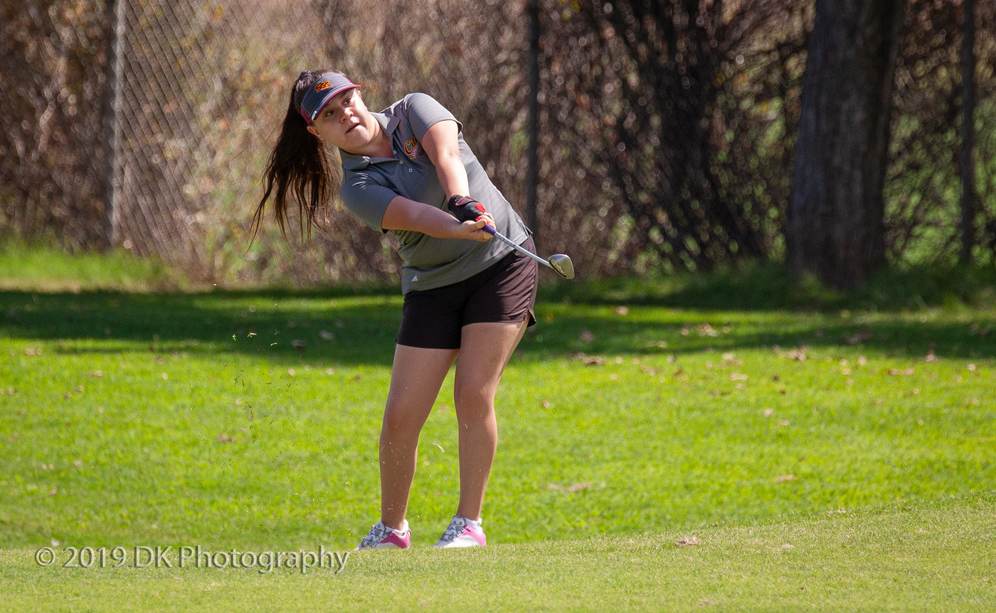 Erica Solorio, City College freshman watches her chip shot as she approaches the green on hole #4 at the Big 8 Tournament at Bartley Cavanaugh Golf Course on Sept. 4th.
