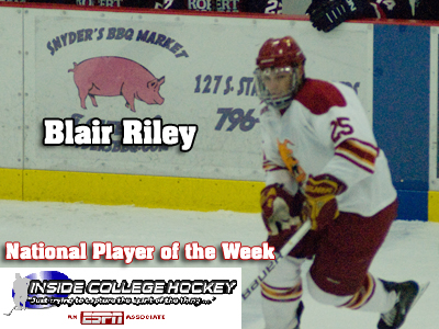 Blair Riley Named Inside College Hockey's Player Of The Week