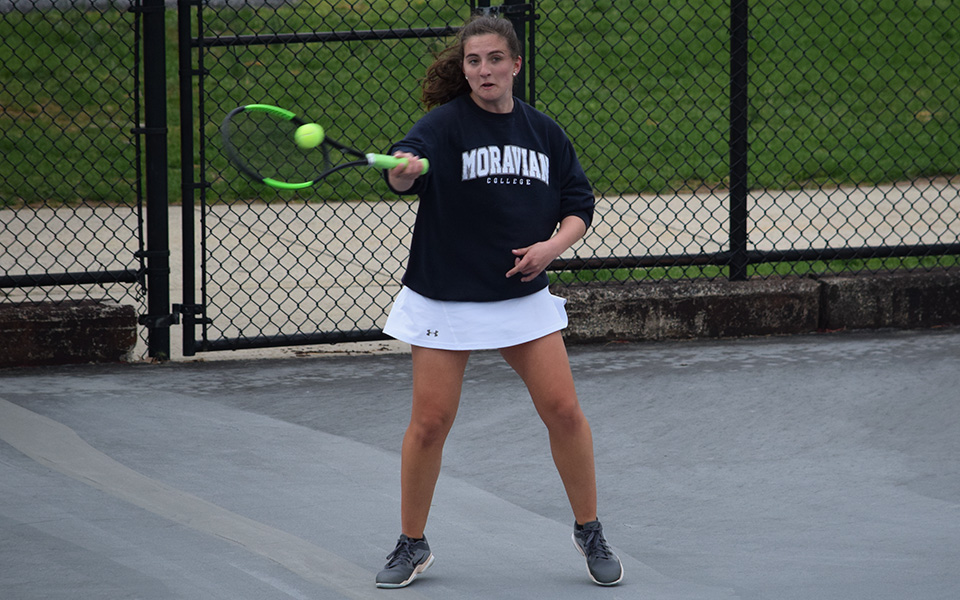 Freshman Hannah Pellicciotti returns a shot during singles action versus Eastern University on Hoffman Courts.