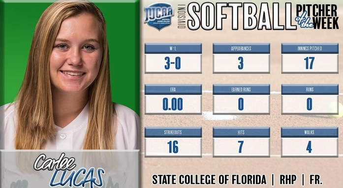 Carlee Lucas Named NJCAA National Pitcher of the Week
