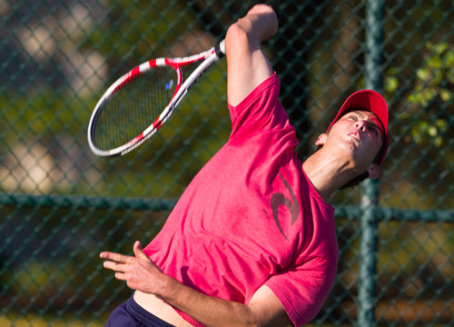 Joey Frank turned in two solid matches on Saturday but Swarthmore would come away with the win<BR>
