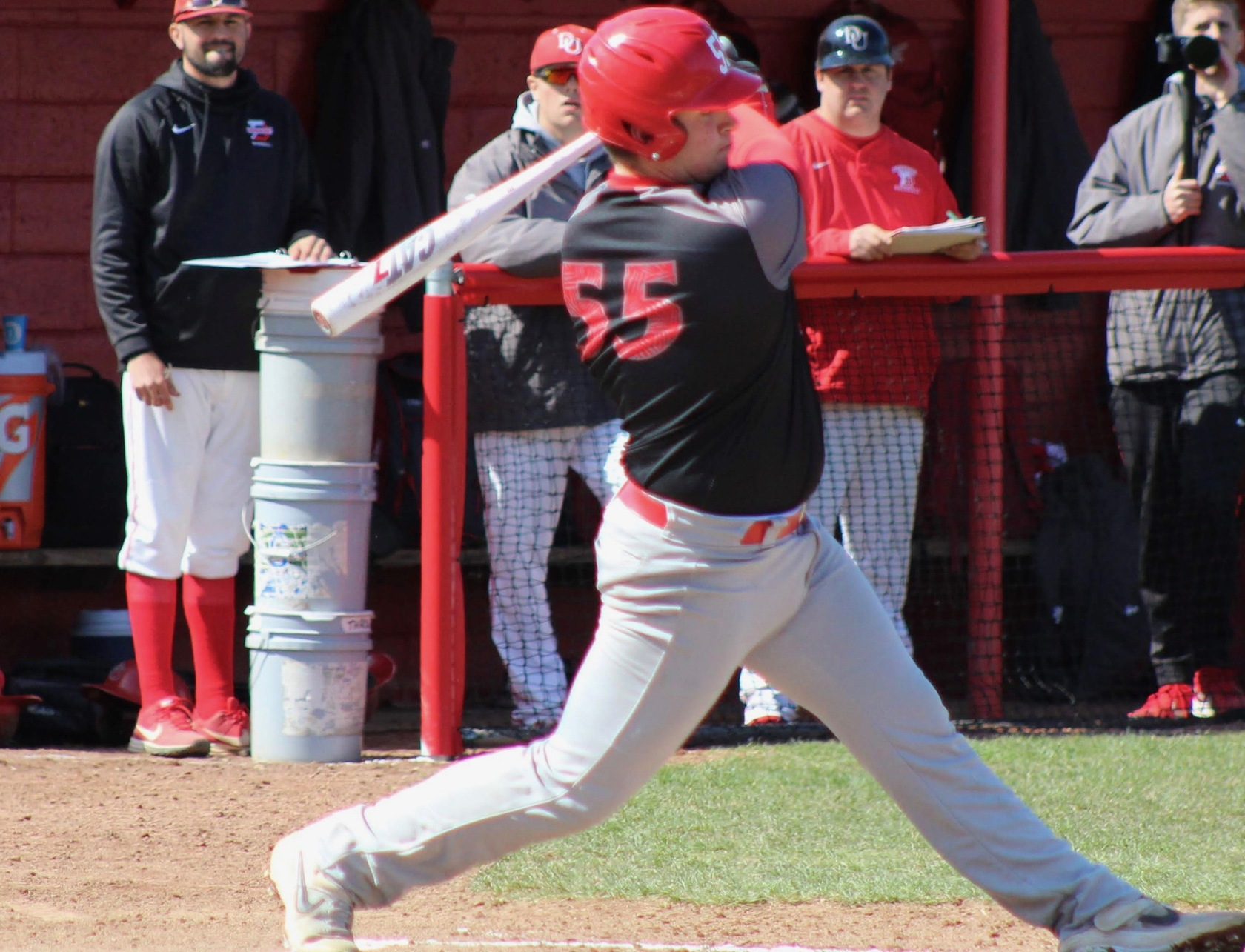 Sophomore Jack Hollinshead blasted three homers in the Tigers' 15-3 game one victory over Wabash on Wednesday