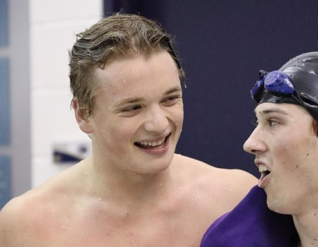 Nolan Huey shatters 400 I.M. record to lead Men's Swimming & Diving on Day 2 of OAC Championships
