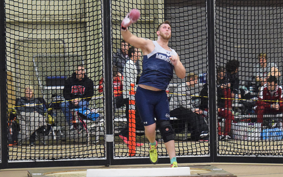 Junior Shane Mastro competes in the shot put that the Moravian Indoor Meet at Lehigh University's Rauch Field House.