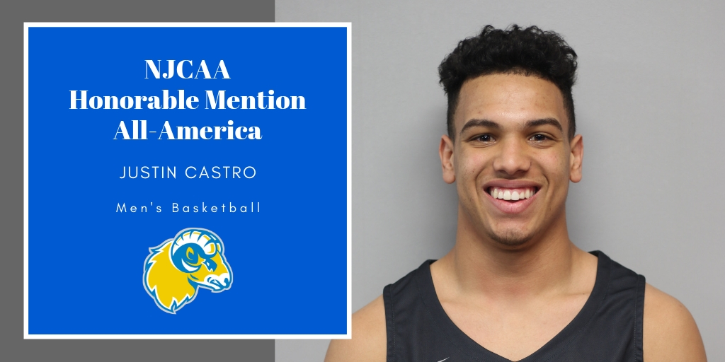 Justin Castro Named NJCAA Honorable Mention All-America