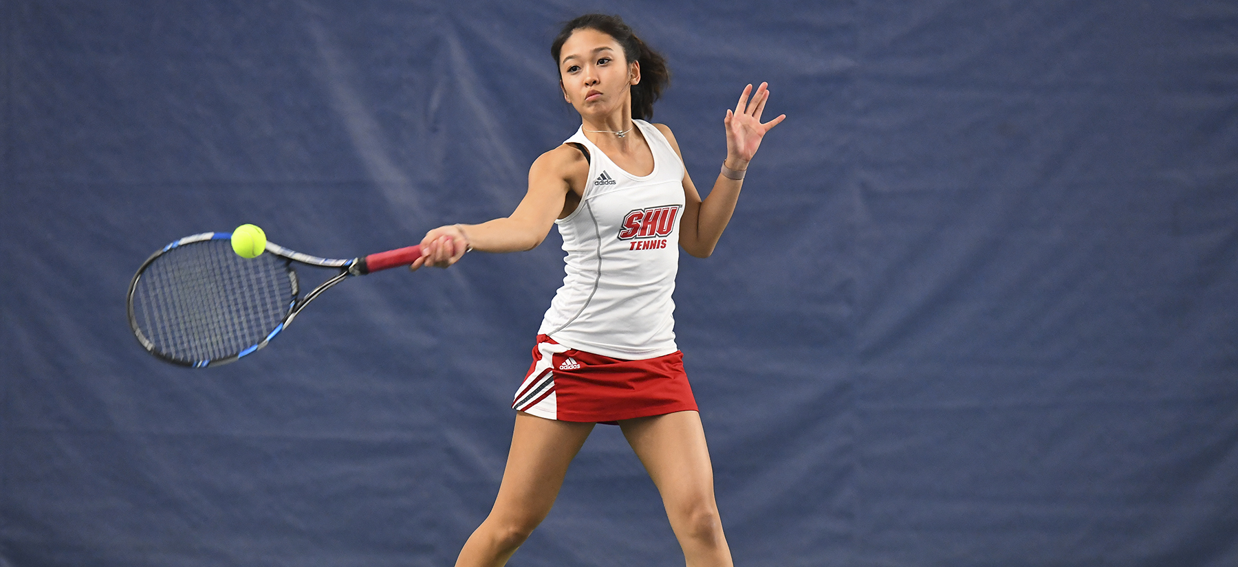 Adrianne Alfonso picked up a singles and doubles victory in the teams 6-1 victory over Holy Cross: Photo courtesy of Steve McLaughlin